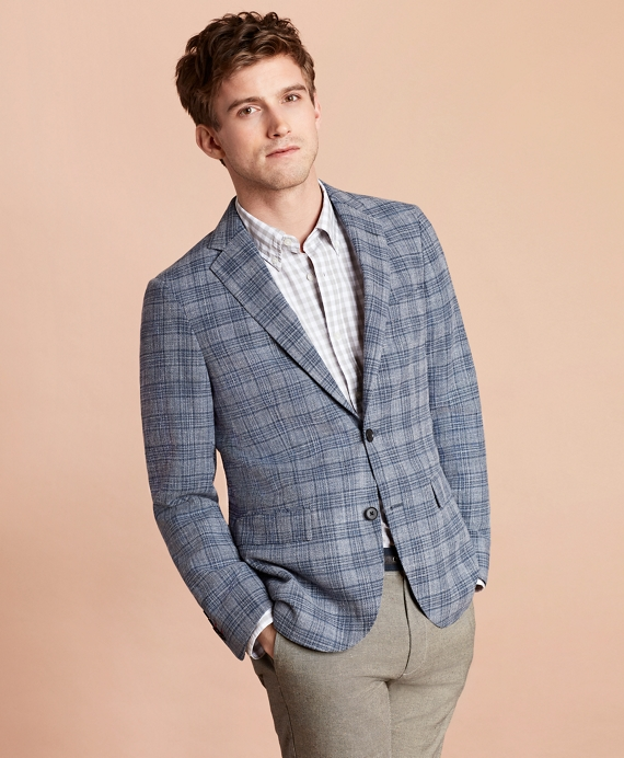 Multi-Plaid Cotton-Blend Dobby Sport Coat Blue