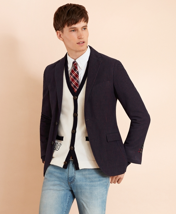 Cotton Sateen Pinstripe Sport Coat Navy