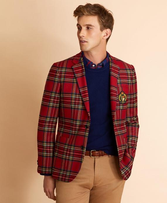 Wool-Blend Royal Stewart Tartan Sport Coat Red