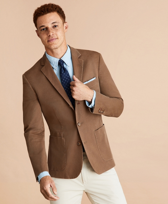 Stretch Cotton Three-Button Sport Coat Brown