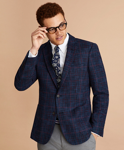 Wool-Blend Plaid Sport Coat
