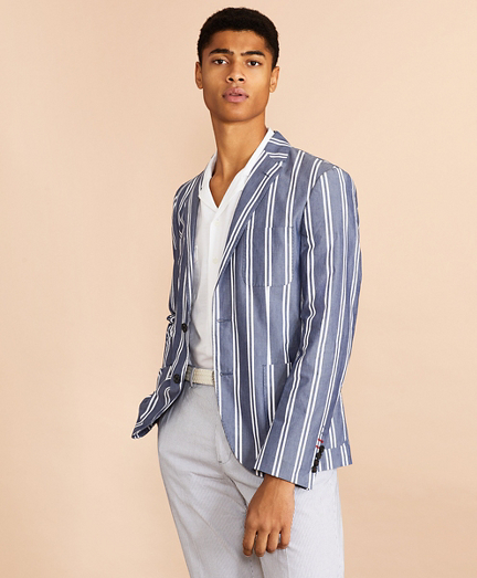 Striped Cotton Chambray Sport Coat