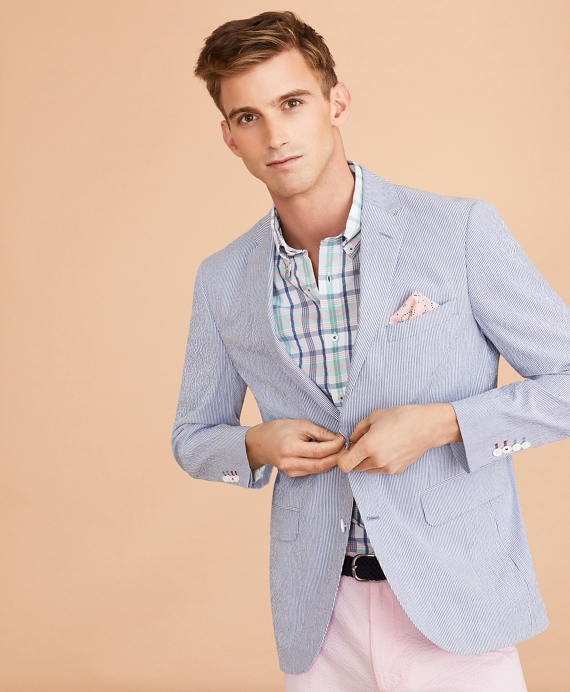 Striped Seersucker Sport Coat Blue