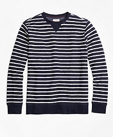 Reverse French Terry Striped Crewneck Pullover