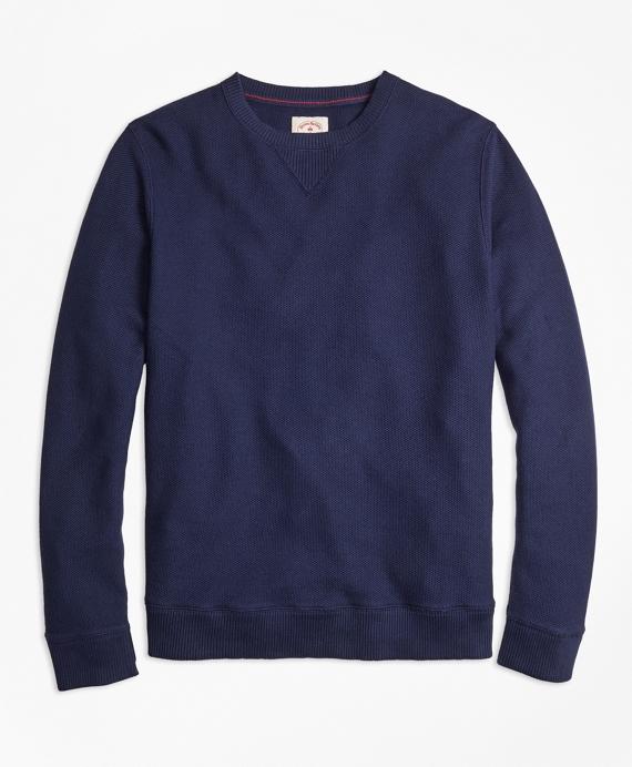Pique Crewneck Sweatshirt Navy