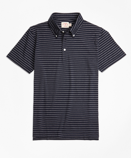 Jacquard Feeder-Stripe Polo Shirt