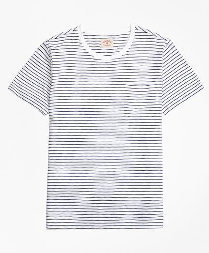 Stripe Cotton Jersey Pocket T-Shirt