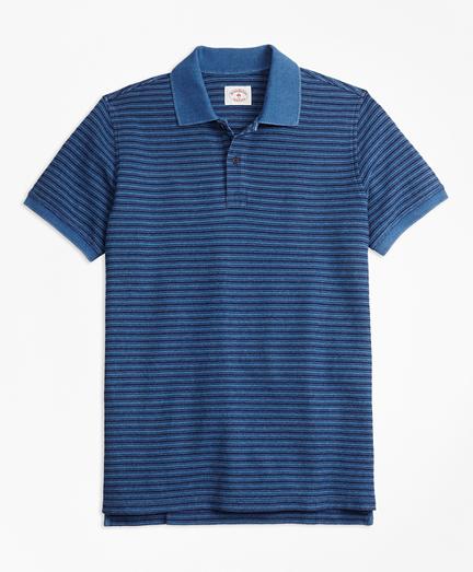 Stripe Indigo Cotton Pique Polo Shirt