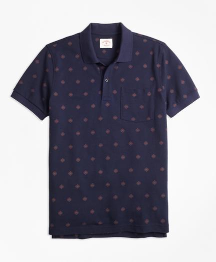 Medallion-Print Cotton Pique Polo Shirt