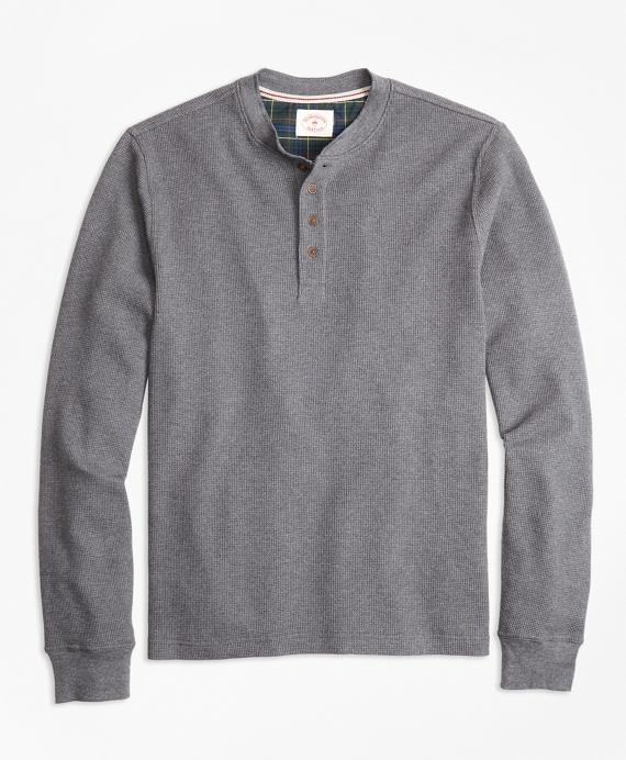 Waffle-Knit Cotton Henley Grey