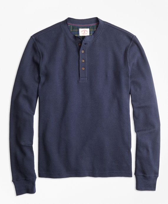 Waffle-Knit Cotton Henley Navy