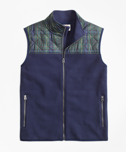 Plaid Quilted-Yoke Polar Fleece Vest