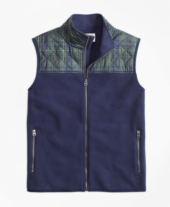 Plaid Quilted-Yoke Polar Fleece Vest Navy