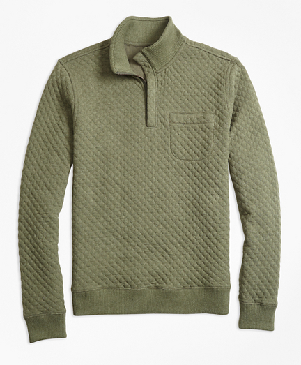 Diamond Quilted Jacquard Half-Zip