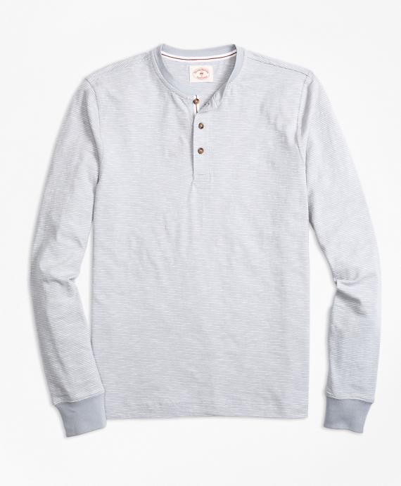 Stripe Slub Cotton Jersey Henley Grey