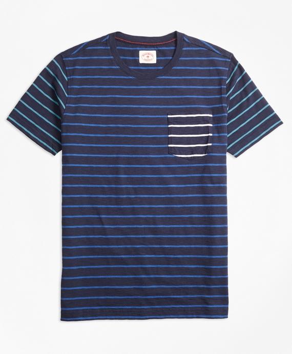 Stripe Slub Cotton Fun T-Shirt Navy
