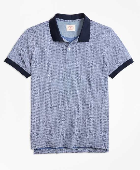 Floral-Print Cotton Jersey Polo Shirt Navy-White