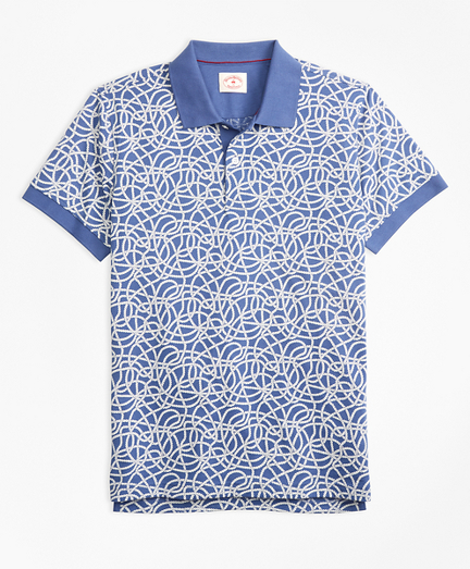 Rope-Print Cotton Jersey Polo Shirt