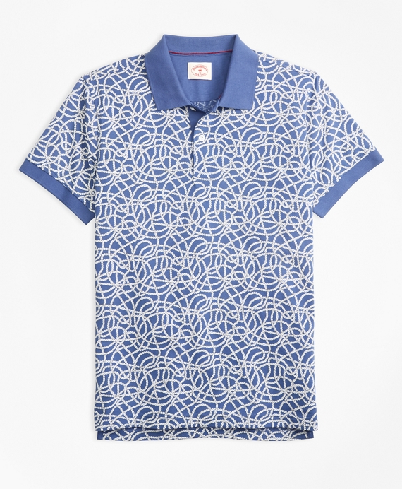 Rope-Print Cotton Jersey Polo Shirt Navy