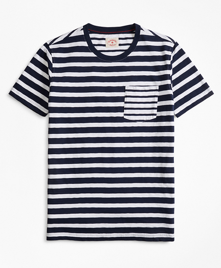 Fun Stripe Slub Cotton Jersey Pocket T-Shirt