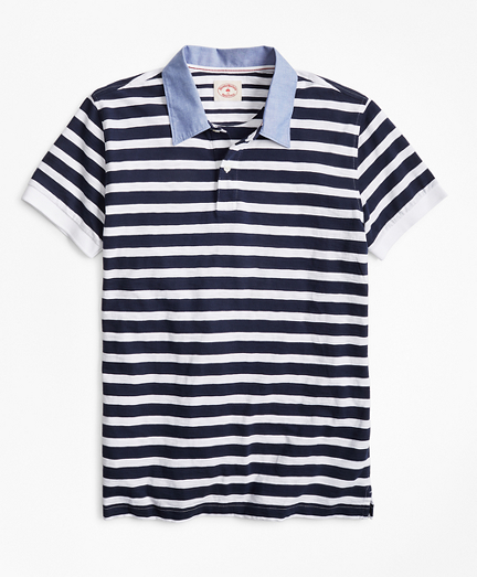 Striped Slub Cotton Jersey Polo Shirt
