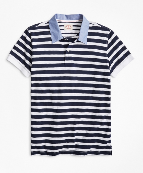 Striped Slub Cotton Jersey Polo Shirt Navy-White