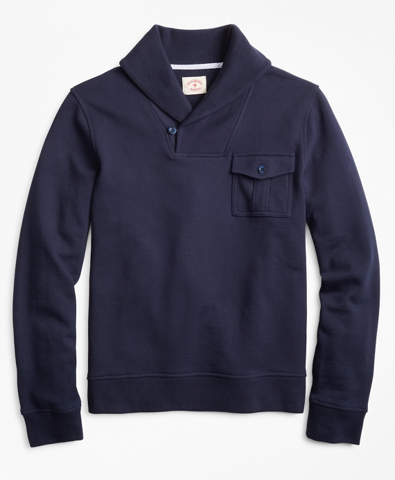 French Terry Shawl Collar Knit Navy
