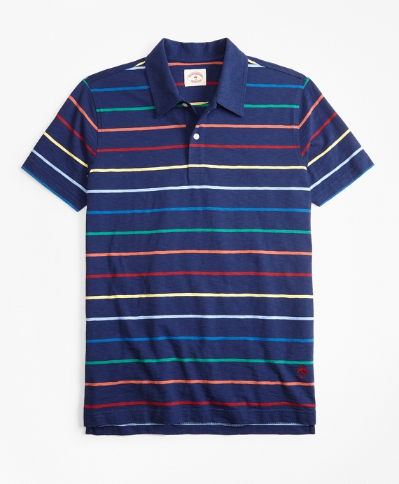 Multi-Color Striped Jersey Polo Shirt Blue