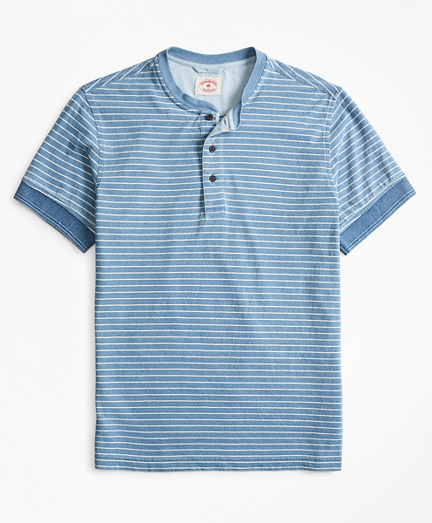 Indigo Feeder-Stripe Short-Sleeve Henley