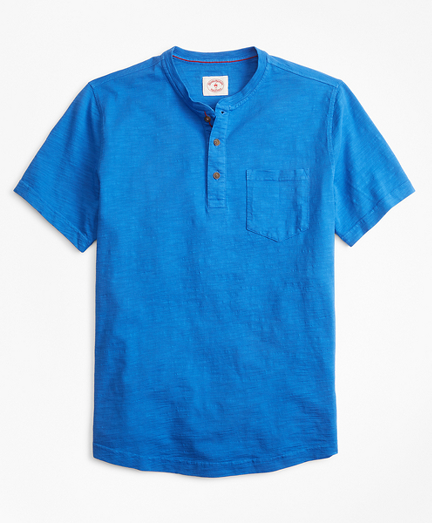 Short-Sleeve Slub Cotton Jersey Henley