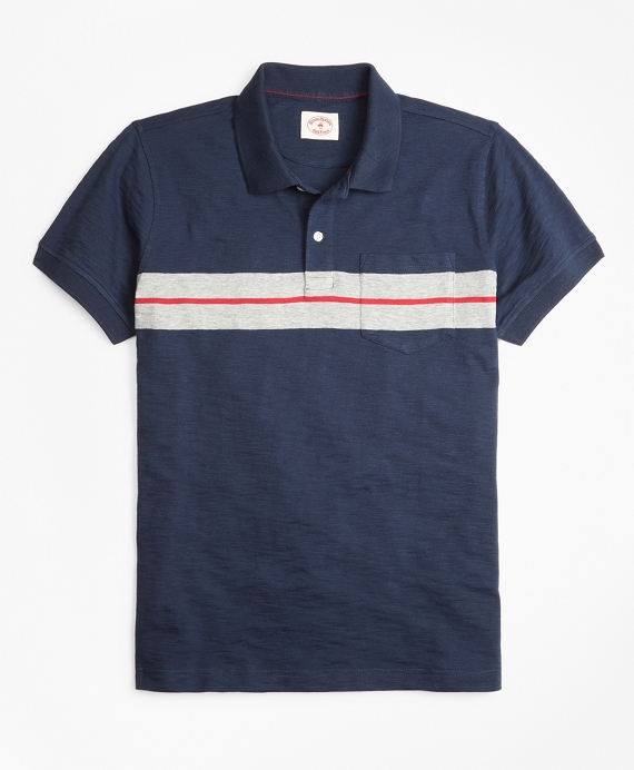 Bold Stripe Cotton Jersey Polo Shirt Navy