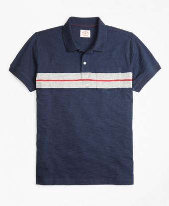Bold Stripe Cotton Jersey Polo Shirt