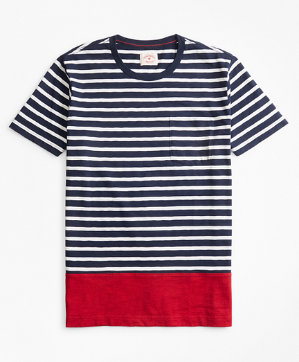 Striped Color-Block Cotton Jersey T-Shirt