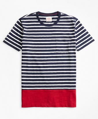 Striped Color-Block Cotton Jersey T-Shirt