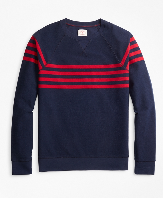 Striped French Terry Crewneck Sweatshirt Navy