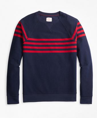 Striped French Terry Crewneck Sweatshirt
