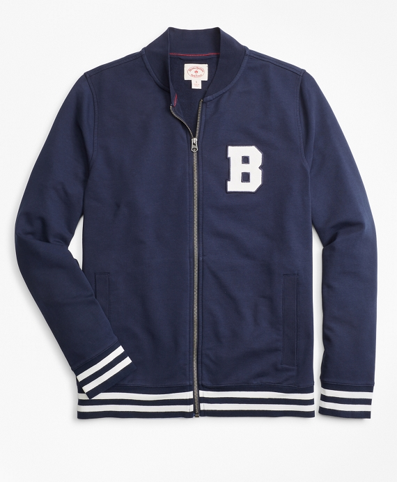 French Terry Letterman Lightweight Baseball Jacket Navy