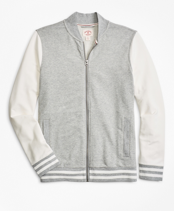 French Terry Lightweight Baseball Jacket Grey