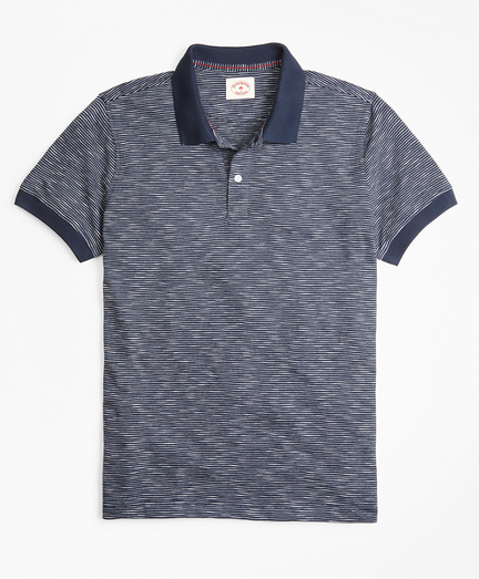 Slub Cotton Feeder-Stripe Polo Shirt