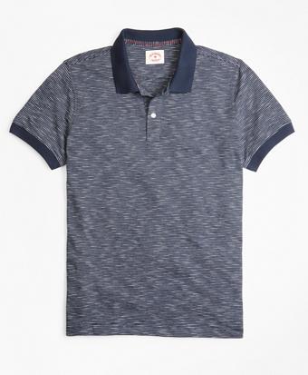 Slub Cotton Feeder-Stripe Polo Shirt