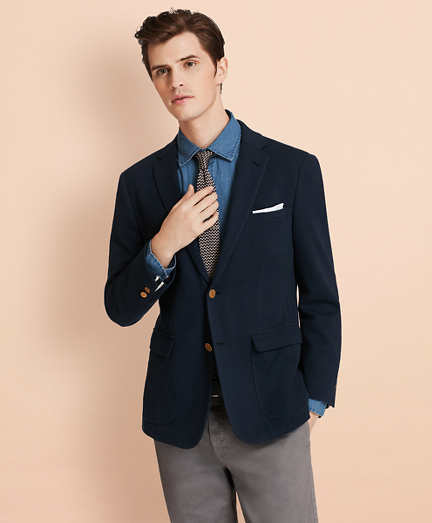 Pique Two-Button Knit Blazer
