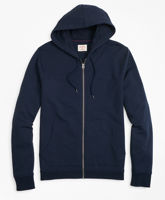 French Terry Zip-Up Hoodie Navy