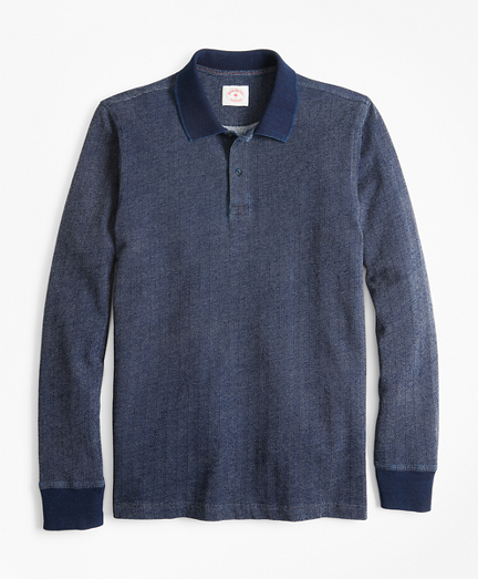 Indigo Herringbone Long-Sleeve Polo Shirt