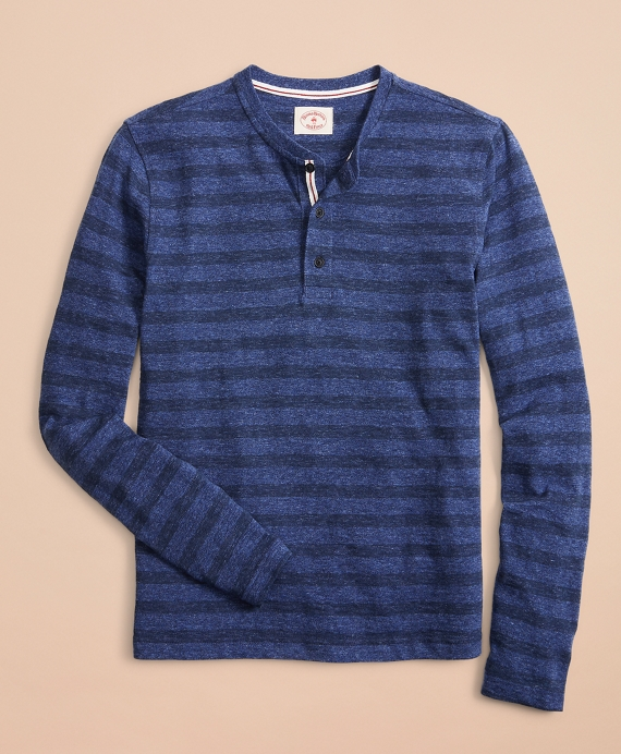 Striped Cotton Henley Blue