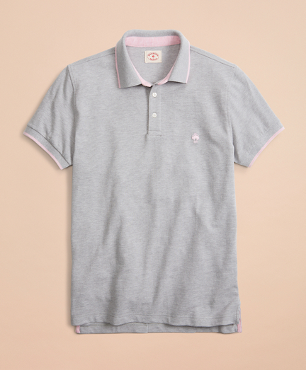 Tipped Heathered Pique Polo Shirt