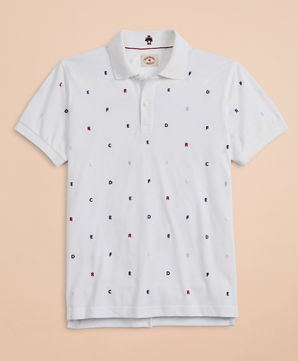 Embroidered Letter Pique Polo Shirt