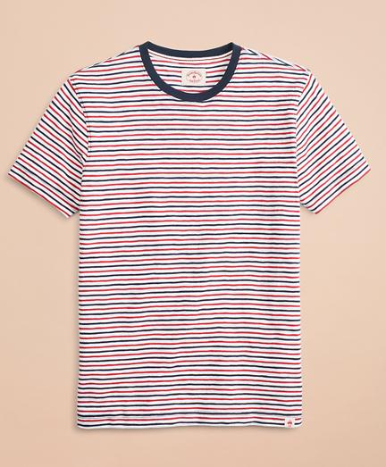 Alternating-Stripe Slub Cotton Jersey T-Shirt