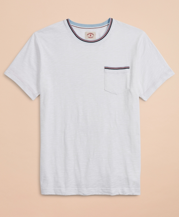 Striped Tipping Pocket T-Shirt White