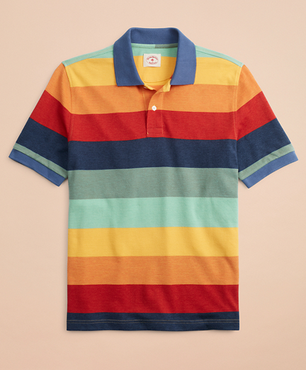 Gradient-Stripe Pique Polo Shirt