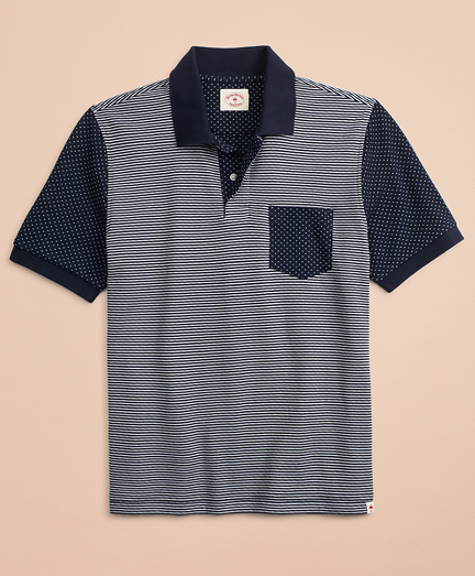 Striped & Dotted Double-Knit Jacquard Polo Shirt